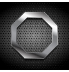 Metal octagon logo on perforated background vector image