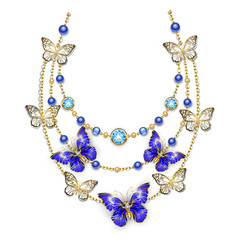 Necklace with sapphire butterflies vector