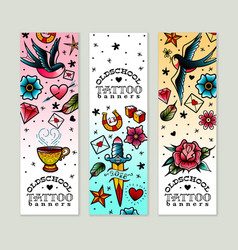 Old school tattoo banners set vector