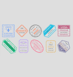 passport stamps international travel visa marking vector image