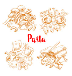 pasta or italian macaroni sketch poster vector image