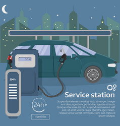 petrol gas station concept in flat design sty vector image