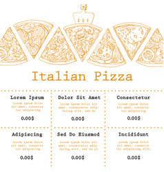 Pizza food menu for restaurant and cafe design vector