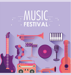 Play instruments to music festival event vector