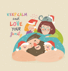 portrait cute christmas family mother father vector image