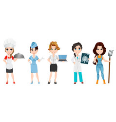 professions set of female cartoon characters chef vector image