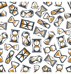 Retro cartoon hourglasses seamless pattern vector