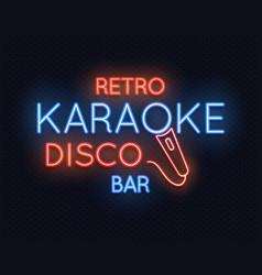 Retro disco karaoke bar neon light sign vector