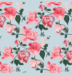 retro roses realistic pattern modern red roses vector image