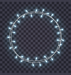 Round frame overlapping glowing string lights vector
