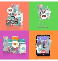 Sale in Electronics Store Concepts Set vector