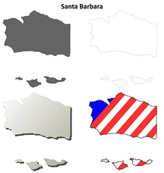 Santa Barbara County California outline map set vector