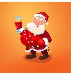 Santa Claus with wineglass vector image vector image