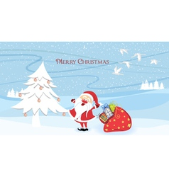 santa with tree vector image