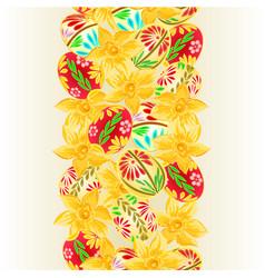 Seamless background vertical border easter eggs vector