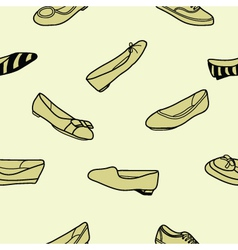 Seamless of female flat shoes vector image