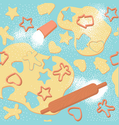 Seamless pattern rolled dough and cookie vector