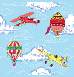 seamless pattern with air balloons and airplanes vector image