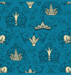 Seamless pattern with crowns in doodle style vector