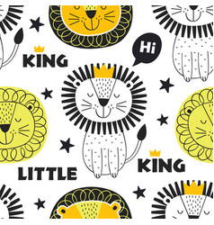 seamless pattern with king lion in scandinavian vector image