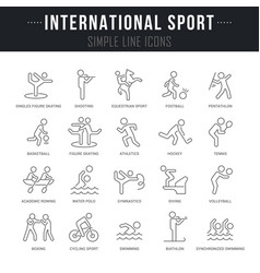 set line icons international sport vector image