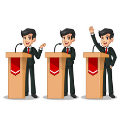 set of businessman in black suit giving a speech vector image