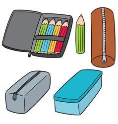 set of pencil case vector image