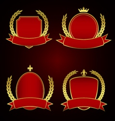 set red royal emblems with laurel leaves vector image