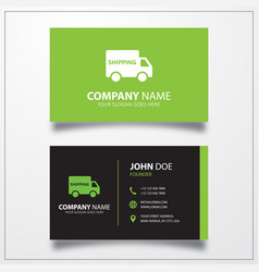 Shipping truck icon business card template vector