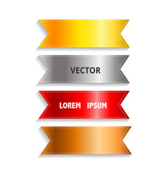 silky ribbon tags collection gold silver vector image