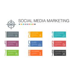 Social media marketing infographic 10 option line vector