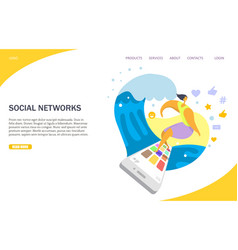 social networks website landing page design vector image