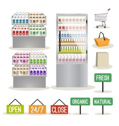 Supermarket shelves set vector image