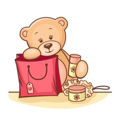 teddy bear with gifts vector image