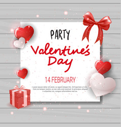 Valentines day party invitation template flyer vector
