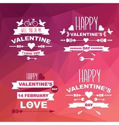 Valentines Day set of symbolsTypography vector