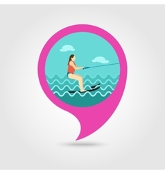 Water skiing pin map icon Summer Vacation vector