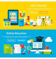 Web Tutorials and Online Education Flat Website vector