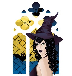Witch near Gothic Window vector image vector image