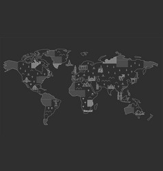 world map with famous landmarks vector image