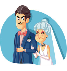 young groom marrying older woman for money vector image