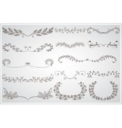 Big set of elegant calligraphic foliate borders vector image
