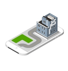 Isometric icon representing modern house with a vector image