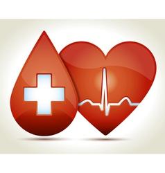 Red heart normal rhytm drop of blood vector