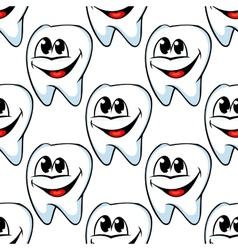 Repeat pattern of happy healthy teeth vector image