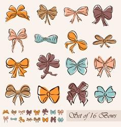 set of 16 bows vector image