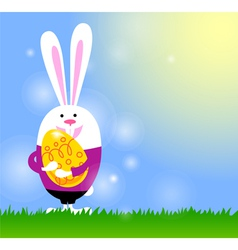 Spring background with bunny and Easter egg vector image vector image