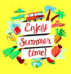 summer beach cartoon banner with enjoy summer vector image vector image