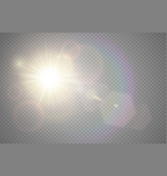 abstract golden front sun lens flare translucent vector image vector image