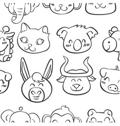 collection stock of head animal doodles vector image vector image